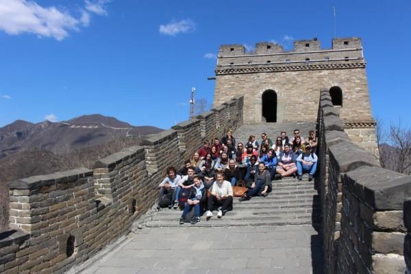 Die Gießenerr Schülergruppe auf der Chinesischen Mauer bei Mutianyu